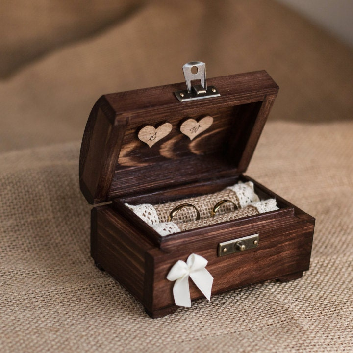 Personalized Wedding Ring Box Wooden Ring Box Rustic Ring