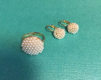 Faux Pearl Ring and Earring set