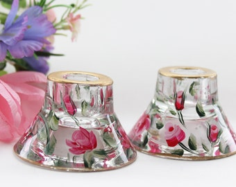 Hand painted Reversible Candle Holders Votive, taper, Red Rose