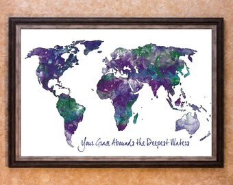 Wall Decor - World Map Water Color Graphic Art Print (More Colors)