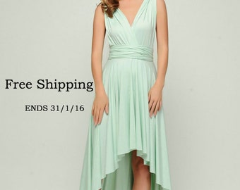 Convertible dress in color Honeydew, infinity dress,High Low bridesmaid dresses,convetible wrap dress, prom dress