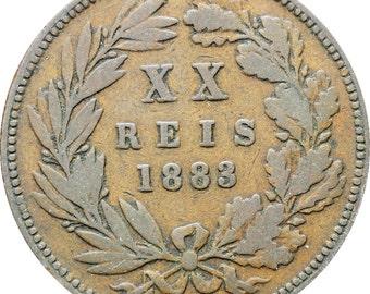 Portugal 1883 20 Reis Luiz I Coin