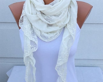 White Lace Scarf, Made of Cotton | Spring & Summer Scarf