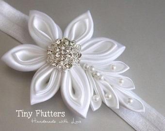 Christening headband - white baby headband - baptism headband - kanzashi flower - newborn to 24 months