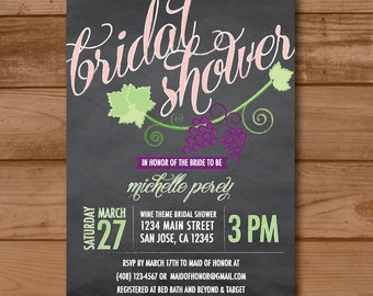 wine theme wedding  etsy, Bridal shower invitations