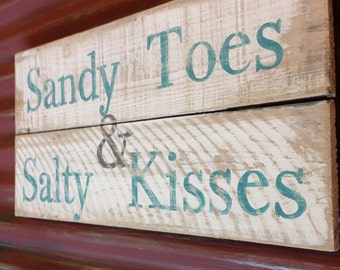 Sandy toes & salty kisses pallet wood sign