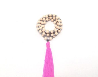 Wood Necklace with Neon Tassel