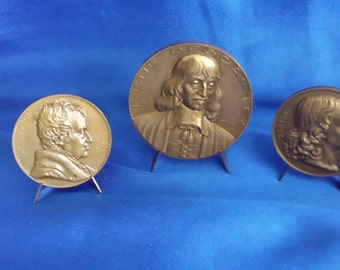 Set of 3 Old Bronze French Commemorative Coins with Copper Display Stands