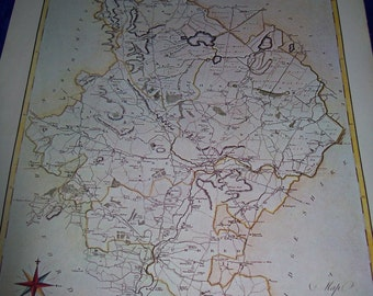 """Map Print of """"Huntingdonshire by J.Cary, 1789"""""""