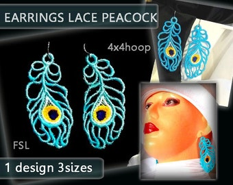 Feather Peacock earrings lace No.191 - FSL - 4X4hoop - Machine embroidery digitization./INSTANT DOWNLOAD