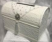 treasure chest money box/wedding card box/ivory wedding card box/envelope holder/wedding box/vintage wedding