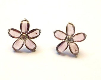 Lavender Stud Flower Sterling Silver Earrings with Rhinestone Center// Opaque Sweet Floral Women's Purple Post Studs