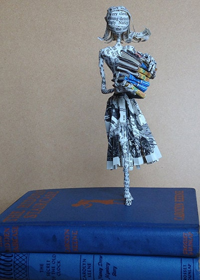 Book sculpture, Nancy Drew, book lover, book art, paper sculpture, Hardy Boys, wedding cake toppper, 1st anniversary, paper anniversary