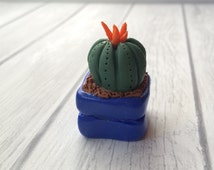 Clay Cactus Plant, Fake Plant, Bright Blue, Potted Plant