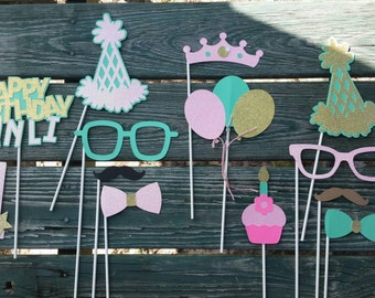 First Birthday Personalized Photo Booth Props
