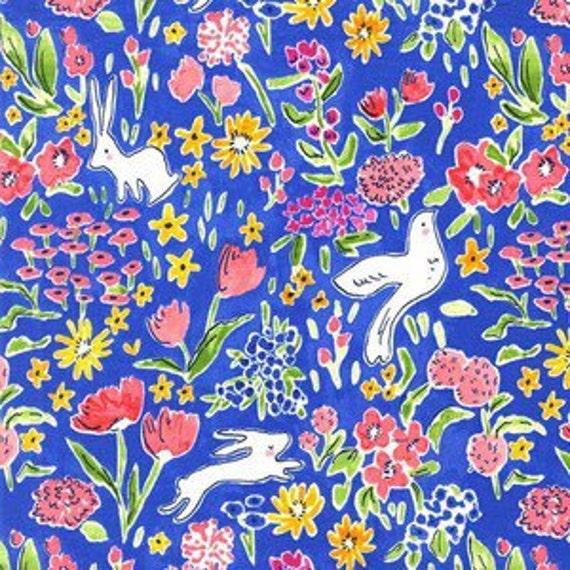 Boppy Cover >> Sommer Garden in Blueberry >> Boppy Newborn Lounger Nursing Pillow >> MADE-to-ORDER cobalt blue boppy, garden boppy, rabbit