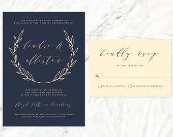 Champagne wedding invitation Etsy
