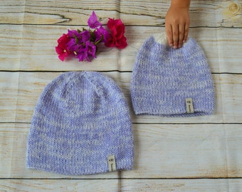 Mommy and Me Beanies,Hand knitted hats,purple beanies,matching beanies,mommy and me hats,hand knitted beanies,light purple/lilac beanies/hat