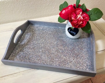 Glitter serving tray - silver