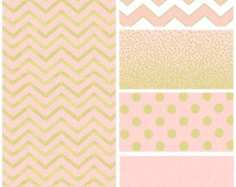 Pink, White and Gold Baby Bedding - Polka Dot - Chevron - Baby Girl Bedding - Nursery - Toddler Bedding - Crib Sheet - Changing Pad Cover
