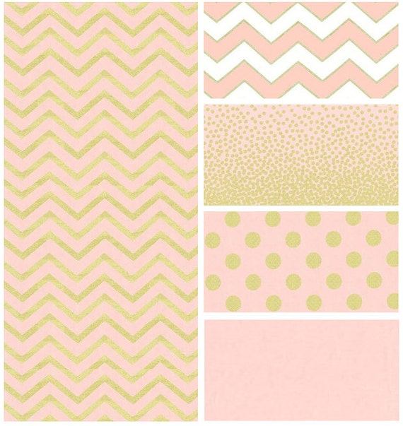 Pink White and Gold Baby Bedding Polka Dot Chevron Baby