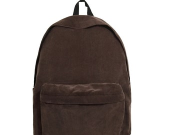 Basic Style Corduroy Backpack (Brown)