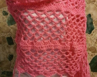 Crochet lacy shawl or wrap with fringe in pretty pink