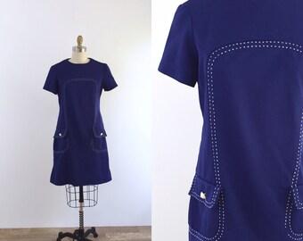1960s Blue Mod Mini Dress   medium