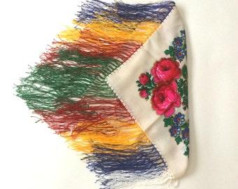 Vintage Ukrainian Floral Fringe Shawl