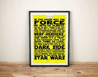 Geek (Q) - In This House   We Do Star Wars (Black on Yellow Background)