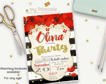 Poppies Birthday Invitation / Printable Invite
