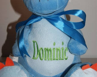 Sir Monty Blue Dinosaur Personlised Embroidered Cubbie- Birthday, New Born Babies, Christmas.