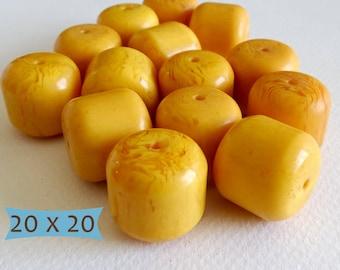 Large Copal Focal Beads Golden Yellow--3 Pcs | DCP111C-3