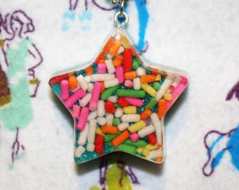 Rainbow Sprinkle Resin Star Necklace