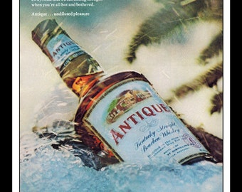 "Vintage Print Ad August 1969 : Antique Kentucky Straight Bourbon Whiskey Wall Art Decor 8.5"" x 11"" each Advertisement"