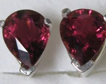 Natural pink-orange tourmaline 1.75 ct & sterling silver 925 earrings