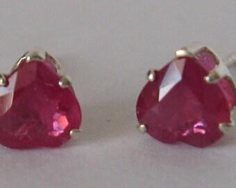 Natural ruby & sterling silver 925 earrings