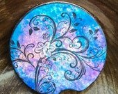 CC-1105 Flourish Premium Absorbent Ceramic Cup Holder Coaster