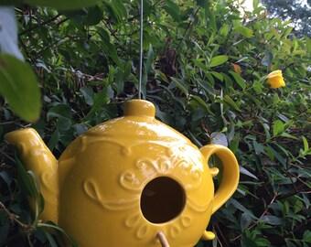 Yellow Ceramic Teapot Birdhouse Feeder
