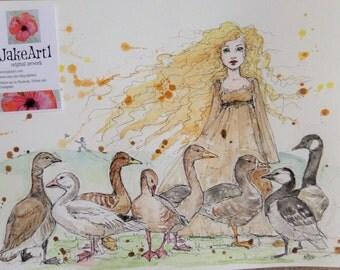 The Goose Girl fairy tale illustration goose fantasy art