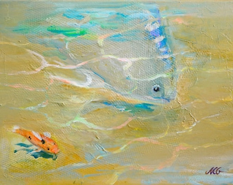 Me & You - small original acrylic painting, ocher, orange, blue and turquoise painting, sand and fishes small painting 30x40 cm app. 12x16""