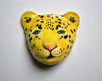 Ceramic Wall Art Hand Painted Leopard