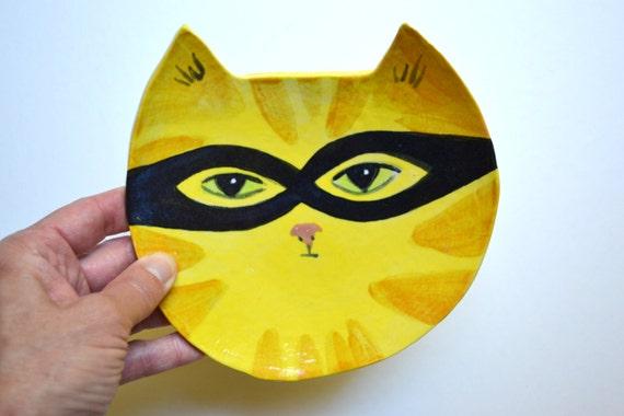 Hand Painted Cat Bandit Decorative Ceramic 6 inch Dish in Yellow