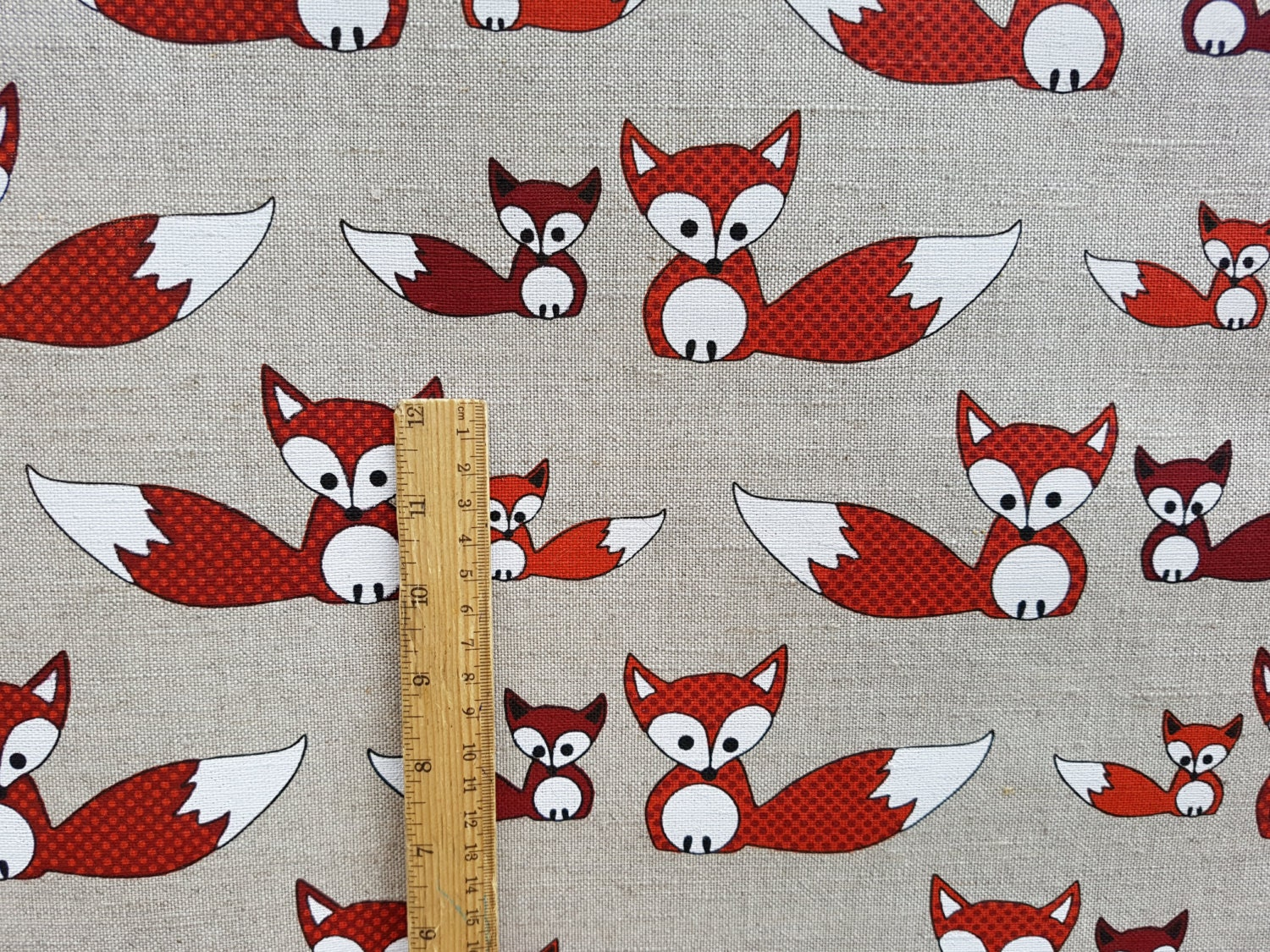 Linen fabric by the meter linen fabric with fox print flax for Fox print fabric