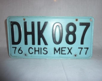 Vintage 1976/1977 Chiapas Mexico License Plate