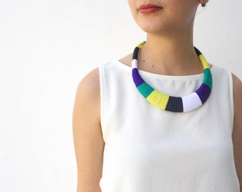 Statement necklace, colorblock necklace, ethnic necklace, african necklace, wrapped crochet necklaces