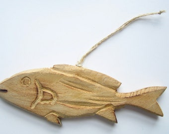 Hand Carved Wooden Fish-Nautical Christmas Ornaments-Wooden Decor-Fish Christmas Ornaments-Fish Christmas Decorations-Wooden Fish-Fish