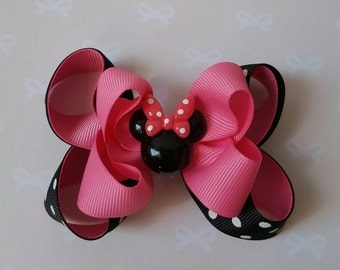 Minnie Mouse Boutique Bow - Minnie Mouse Hair Bow -  Minnie Mouse Bow - Girls Hair Bows - Hot Pink, Black and White
