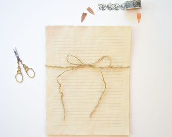 set of 20~Jotted Lines Coffee Stained Paper