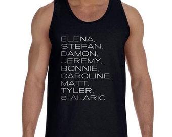 Elena Stefan Damon Jeremy Bonnie Caroline Matt Tyler Alaric TVD Men Tank top